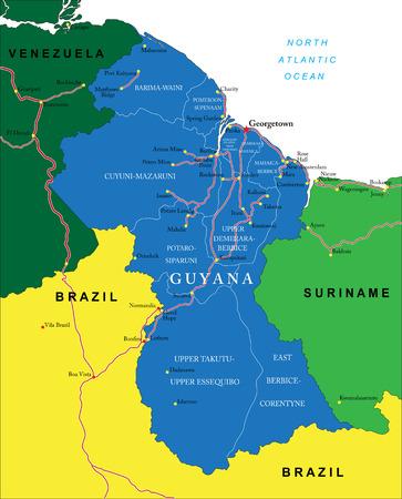 Guyana: Guyana map Illustration