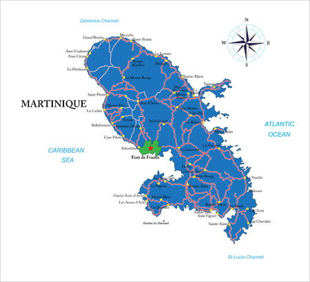 martinique: Martinique map