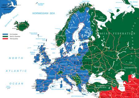 Europe wegenkaart Vector Illustratie