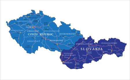 Czech Republic and Slovakia map