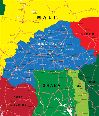 mali: Burkina Faso map Illustration