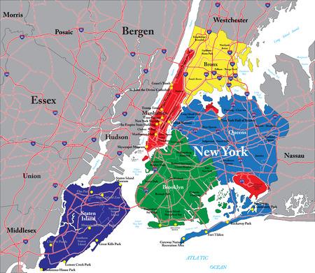united states map: New York City map Illustration