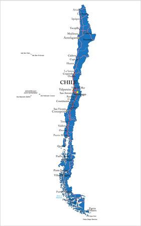 santiago: Chile map Illustration