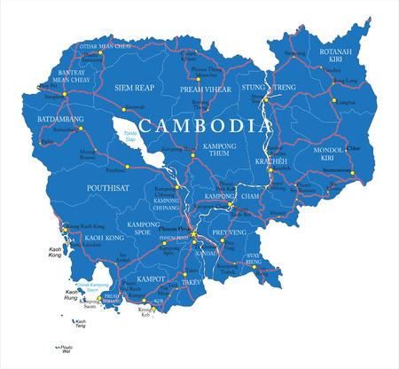 Cambodia map Vettoriali