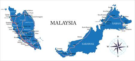 マレーシアの地図  イラスト・ベクター素材