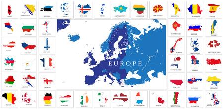 European countries flag maps set Ilustração