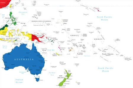 Mapa Oceania Ilustração