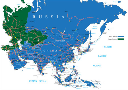 outline map: Asia road map Illustration