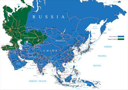 street map: Asia road map Illustration