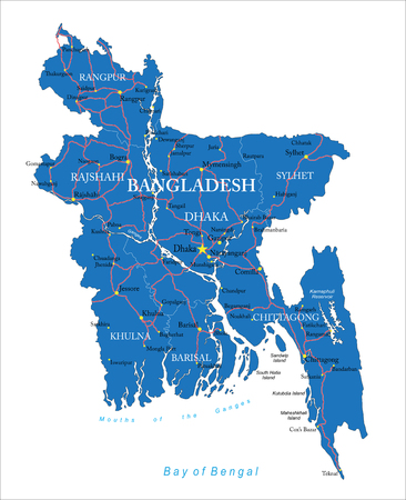 bangladesh: Highly detailed map of Bangladesh with administrative regions,main cities and roads.