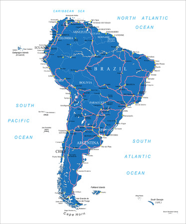 names: South America road map