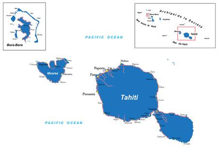 french polynesia: Tahiti and Bora-Bora map Illustration