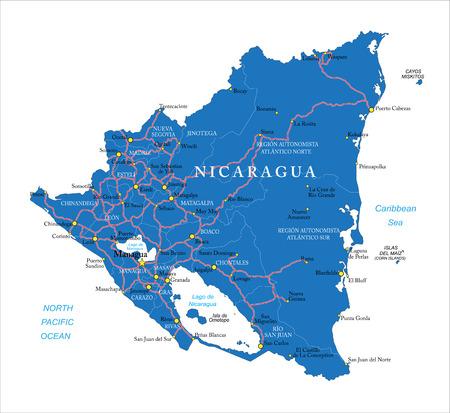 Nicaragua map Vetores