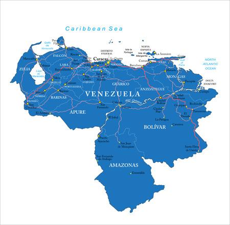 mapa de venezuela: Mapa de Venezuela con las regiones administrativas, principales ciudades y carreteras.
