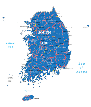 incheon: Highly detailed vector map of South Korea with administrative regions, main cities and roads.