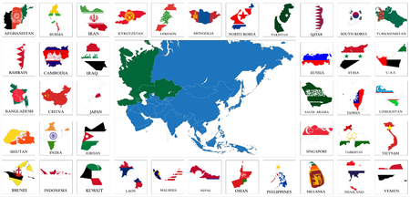 Asia countries flag maps Illustration