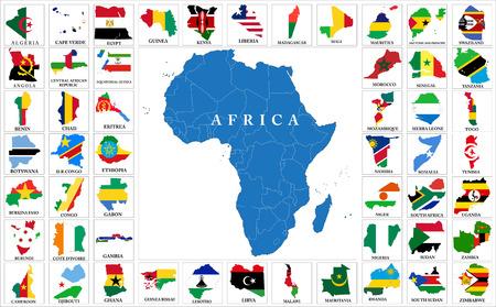 Afrikaanse landen Vlag kaarten