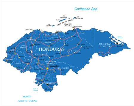 central america: Honduras map