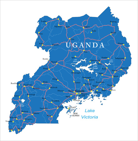 Highly detailed vector map of Uganda with administrative regions,main cities and roads.
