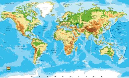 krajina: Fyzická mapa světa Ilustrace
