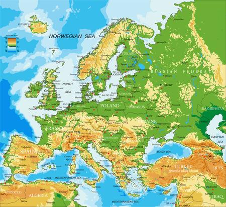 Europe - physical map 일러스트