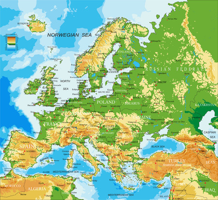 geography of europe: Europe - physical map Illustration
