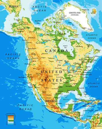 panama: Physical map of North America