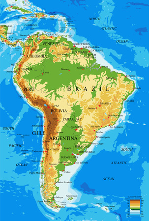 South America-physical map Illustration