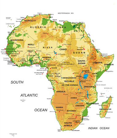 atlantic city: Africa-physical map