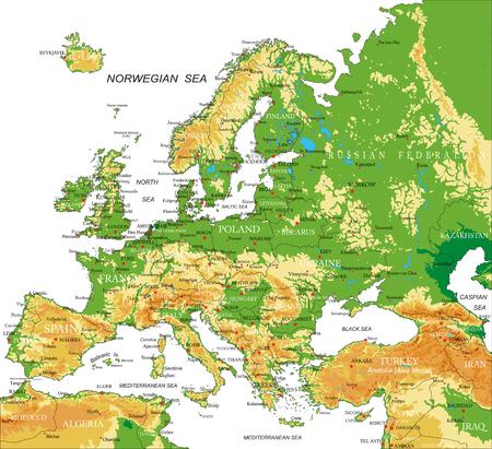 topografia: Europa - mapa físico