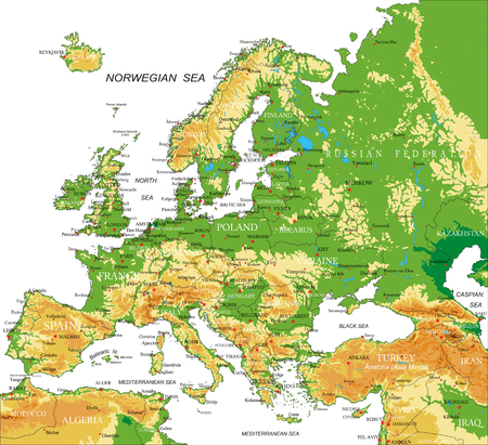 physical geography: Europe - physical map Illustration