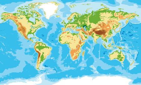 Altamente detalhado mapa físico do mundo, em formato vetorial, com todas as formas de relevo.