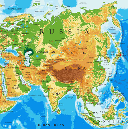 Physical map of Asia Illustration