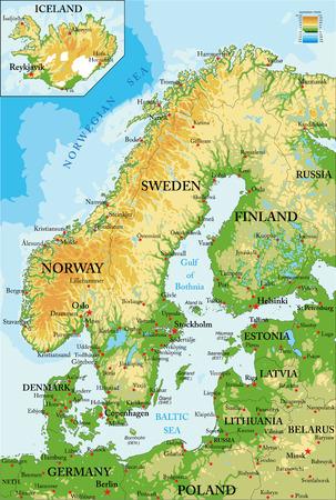 Mapa de Escandinavia-física