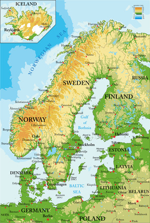 Scandinavia-physical map Иллюстрация