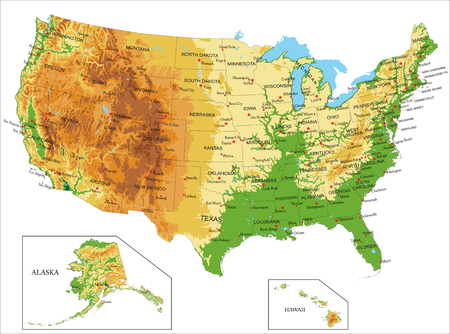 United States of America-physical map