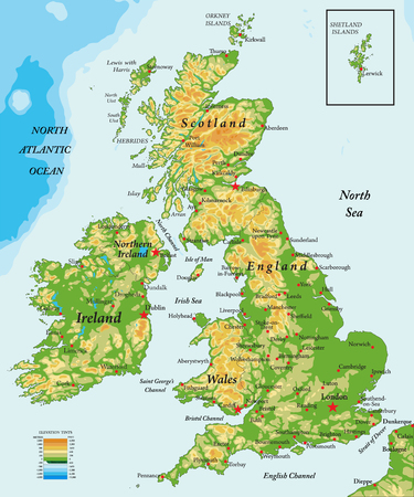 Großbritannien und Irland-physikalische Karte