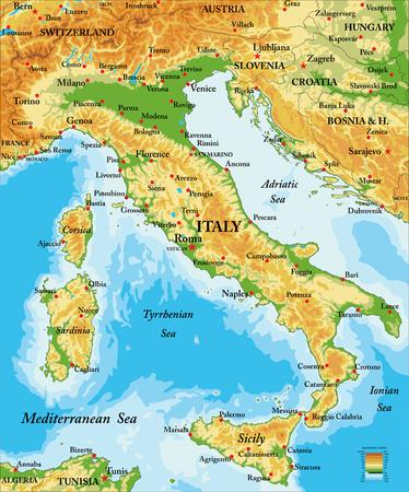 Italië reliëfkaart Stockfoto - 69328724