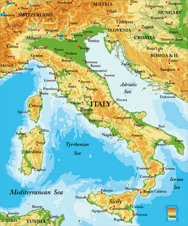 Italy relief map