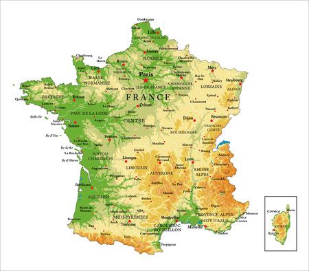 France-physical map Illustration