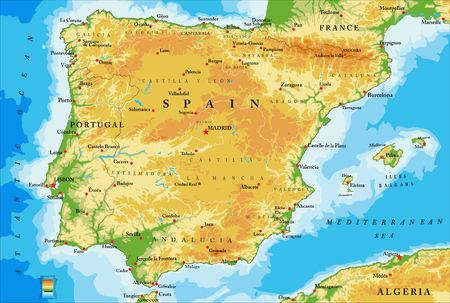 Spai- physical map