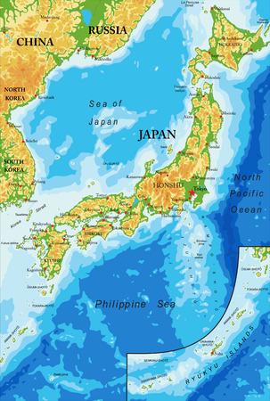 日本地形図  イラスト・ベクター素材