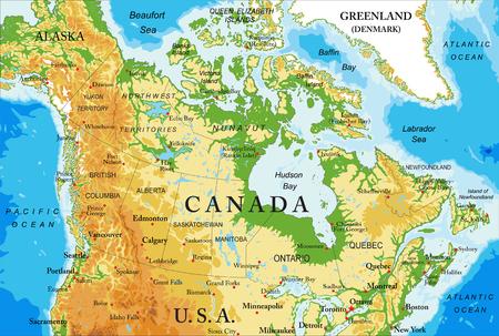 Carte physique du Canada