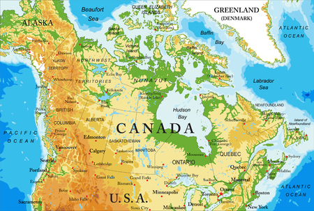Physical map of Canada Illustration