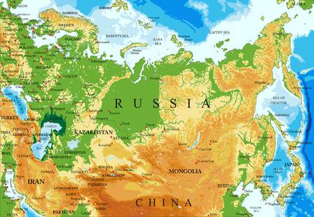 すべての救済フォーム、地域と大都市のベクター形式で、ロシアの非常に詳細な物理的な地図。  イラスト・ベクター素材