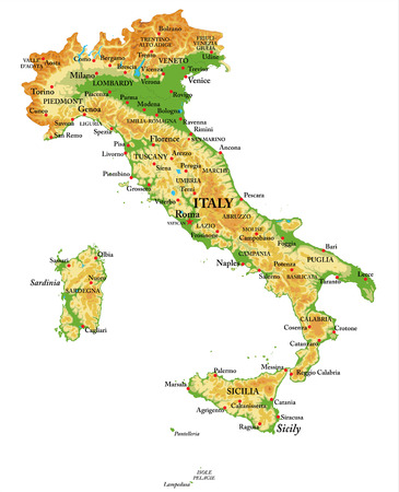Highly detailed physical map of Italy, in vector format, with all the relief forms, regions and big cities.