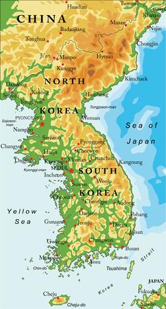 Korean peninsula relief map Vektoros illusztráció