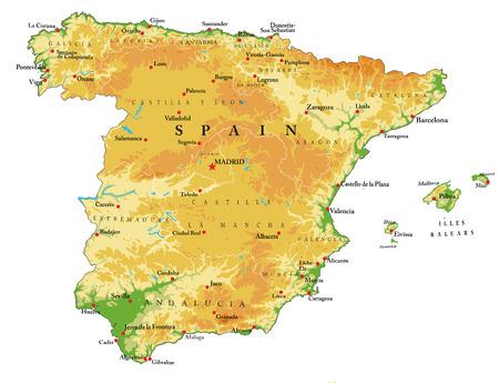 Spain relief map Иллюстрация