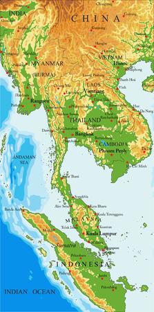 Indochina physical map Иллюстрация