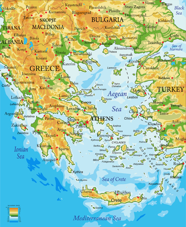 Highly detailed physical map of Greece,in vector format,with all the relief forms,regions and big cities. Çizim